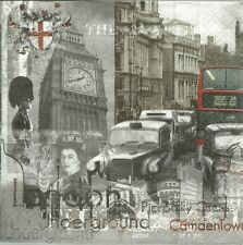 3 Servietten Napkins London Big Ben Taxi Doppeldeckerbus Queen #633