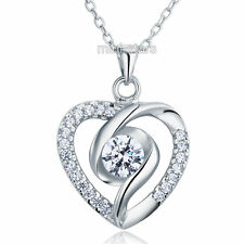 0.5 Carat Created Diamond Heart 925 Sterling Silver Pendant Necklace FN8032
