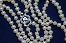 18/19 inches 5-6 mm Double-Strand White Freshwater Pearl Necklace with Ornament