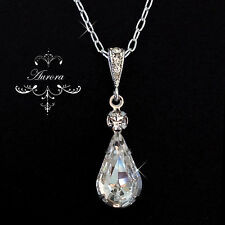18K Swarovski Crystal Clear Teardrop Necklace Wedding Bride 925 Sterling Silver