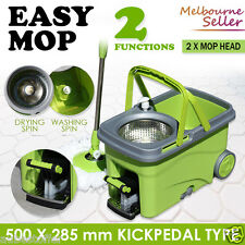 Walkable 360 Spinning Microfibre Mop Pedal Wet/Dry Spin Bucket with 2 Mop Heads