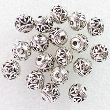 30Pcs Tibetan silver Round Shaped Hollow Spacer Bead Antique Silver 8mm AD-45886