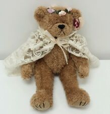"1993 Attic Treasures""Eve"" Bride Bear Lace Cape  Rose wedding Jointed Stuffed 12"""