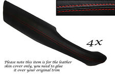 RED STITCH 4X DOOR HANDLE ARMREST LEATHER COVERS FITS RANGE ROVER P38 94-02