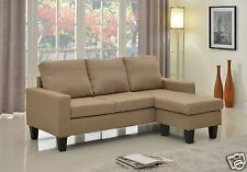 LT BROWN Fabric Sectional Sofa REVERSIBLE Chaise Lounge Living Room Modern Couch