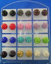 24pcs (12 pair) 10MM Disco Ball Crystal CZ Steel Stud Pierced Earrings 12 colors
