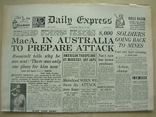 DAILY EXPRESS WWII NEWSPAPER MARCH 18th 1942 MacARTHUR PREPARES ATTACK ON JAPAN