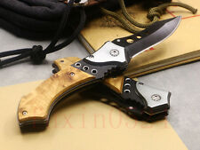 New Wood Handles Outdoor Bowie Hunting Pocket Folding knife   Fishing Hunting