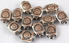 25 Square Tube Tibetan Lead Free Silver Spacer Beads
