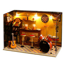 DIY Dollhouse Miniature Kit with Cover and LED Wood Toy Dolls House Xmas Gift BO