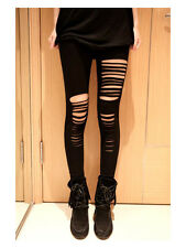 Sexy Black Ripped Torn Slashed Cut Striped Leggings Pants GOTH Club Punk