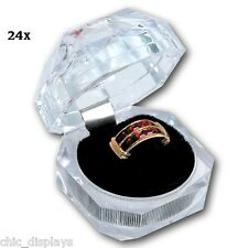 LOT OF (24) ACRYLIC RING BOXES WHOLESALE JEWELRY RING BOXES SHOWCASE DISPLAYS