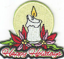 """""""HAPPY HOLIDAYS"""" PATCH-Iron On Embroidered Applique/Christmas, Holiday, Decor"""