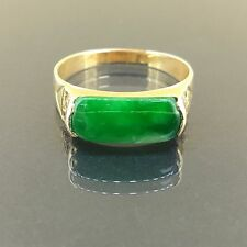Estate 18k Yellow gold Natural untreated A Grade Green Jade Jadeite ring band