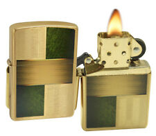 Zippo Lighter 28796 Germany Blocks Texture Design 1 Brushed Brass Classic NEW