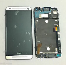 DISPLAY LCD + TOUCH SCREEN VETRO COMPLETO DI FRAME HTC ONE M7 801E GRIGIO SILVER