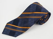 COSTUME NATIONAL Blue & Gold Striped & Plaid Multi-Pattern Woven Silk Tie
