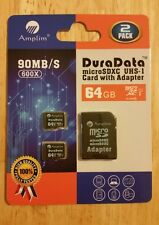 Amplim 64GB microSDXC Cards Plus Adapter Pack (Class 10 Micro SD) 2 pack