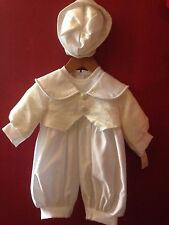 Boys White/Ivory Christening outfit with hat,  age 0-3 months BNWTS