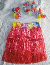 KIDS SIZE HAWAIIAN HULA RED SKIRT PARTY SET new childrens luau bracelet hat kid
