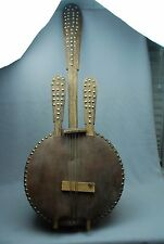 VTG African Kora Lute Folk Art String Instrument Gourd Bowl Back Decorator Piece