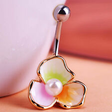 three petals Pearl Flower Belly Navel Button Bar Ring Piercing Body Jewelry xmas