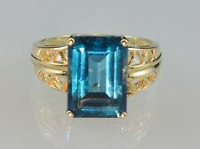 #4743 - Size 10 - 10K Gold Ring With Beautiful Blue Stone