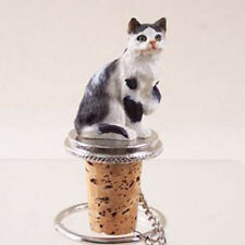 Black & White CAT Hand Painted Resin Figurine Wine Bottle Stopper