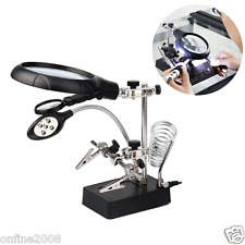 Helping Hand Soldering Stand With LED Light Glas Clip Magnifier Magnifying Glass