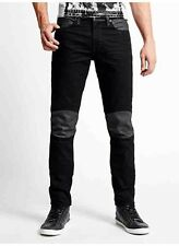 Guess Slim Tapered Moto Black Jeans In Smokescreen 2 Wash Size 30