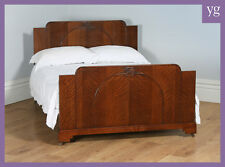 "Antique English Art Deco Oak 4ft 6"" Double Size Bachelors Gentlemens Ladies Bed"