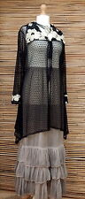 "LAGENLOOK AMAZING COLLAR SOFT LONG CROCHET CARDIGAN*BLACK*BUST UP TO 46"" SIZE XL"