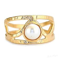 Gold Plated 14k Ring Genuine Pearl Warranty Sizeable Gemstone Free Shipping New