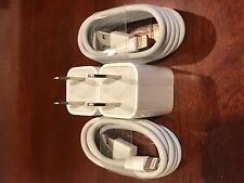 2X OEM Apple iPhone 7-6s Plus/6/5/5c Lightning Cable + 2X Charger Adapter Cubes