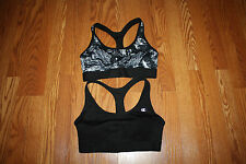 NEW Womens CHAMPION Lot of 2 Black Printed Double Dry Sports Bra Sz S