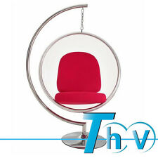 High Quality Transparent Hanging Bubble Chair + Stand & Red Colors Cushion
