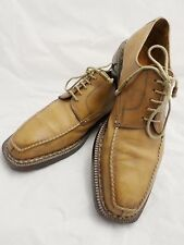 SUTOR MANTELLASSI tan burnished leather oxfords dress shoes 42.5 9.5