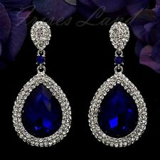 Rhodium Plated Sapphire Blue Crystal Rhinestone Drop Dangle Earrings 00583 New