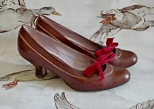 1940'S HEELS low BROWN shoes brogues LACE UP ribbon CLARKS vintage WW2 size 5.5
