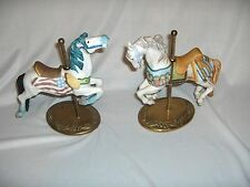 2 Bisque Carousel Horses Figurines Brass Bases American Flag NICE
