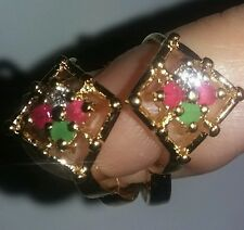 NEW Yellow Gold 3.0G Gild Stamp 9ct REAL RUBY EMERALD CROSS Earrings Lot #14k10k