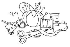 Unmounted Rubber Stamps, Seamstress, Sew, Sewing, Pin Cushion & Sewing Notions