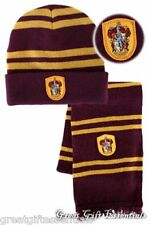 HARRY POTTER Gryffindor House *LICENSED* HAT & *REAL* WOOL SCARF w/ CREST beanie