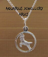 """925 STERLING SILVER ZODIAC PENDANT ARIES WITH 18"""" CHAIN FREE GIFT BOX"""
