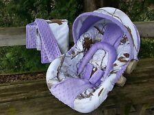 2 Piece Set - Camo Infant Car Seat Cover, Blanket, Realtree Snow and Lavender