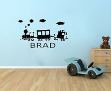 PERSONALIZED CHILDS NAME TRAIN Kids Childrens Vinyl Wall Sticky Decal Room Decor