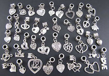 Wholesale 40pcs Tibetan Silver Love Heart Dangle Beads Fit Charm Bracelet jf777