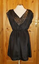 FRENCH CONNECTION black SILK LBD sequin v neck cap sleeve party dress US6 10-12