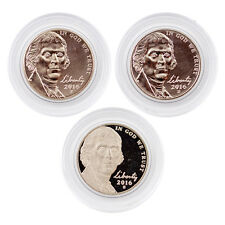 2016 P D and S Jefferson Nickels PD from rolls PLUS S Clad Proof 3 coins caps