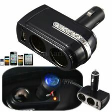 12v USB Charger+Twin Double Car Cigarette Lighter Socket Charge Adaptor Splitter